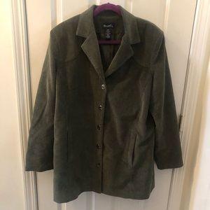 Denim&Co Hunter Green Corduroy Jacket Large